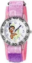 Disney Girl's 'Tiana' Quartz Plastic and Nylon Watch, Color:Purple (Model: W002978)