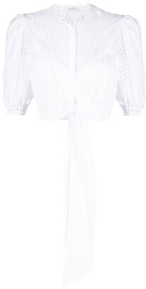 Charo Ruiz Ibiza Cropped Broderie-Trimmed Blouse