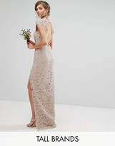 TFNC Tall Wedding High Neck Lace Dress With Cap Sleeve