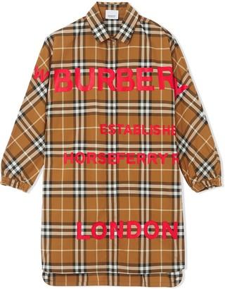 BURBERRY KIDS Horseferry print pointed collar shirt dress