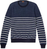Tod's Striped Cotton And Linen-Blend Piqué Sweater