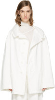Y's Ys White Denim Wide Lapel Coat