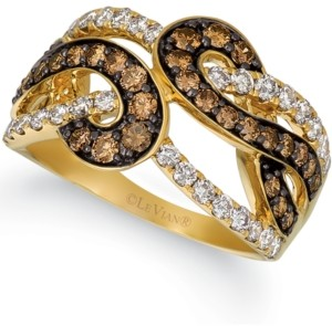 LeVian Le Vian Chocolate Diamond (3/4 ct. t.w.) & Nude Diamond (5/8 ct. t.w.) Statement Ring in 14k Gold