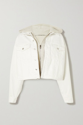 Alexander Wang Layered Embroidered Denim And Cotton-blend Jersey Jacket - White