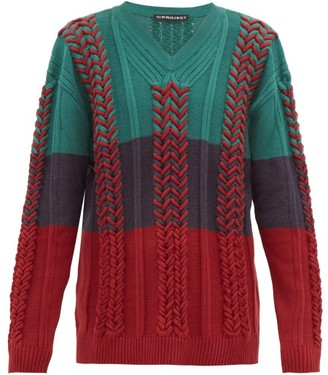 Y/Project Cable-knit Cotton-blend Sweater - Mens - Green Multi