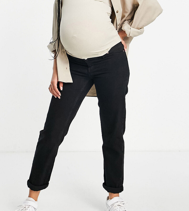 ASOS DESIGN Maternity high rise 'original' mom jeans in black with elasticated side waistband
