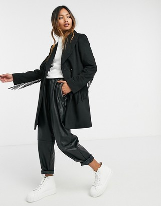Gianni Feraud Black short overcoat with tassle detailing