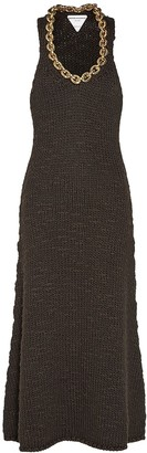 Bottega Veneta Wool Knit Sleeveless Midi Dress W/chain