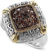 Effy Balissima by Final Call Brown Diamond Ring (3/8 ct. t.w.) in 18k Gold and Sterling Silver