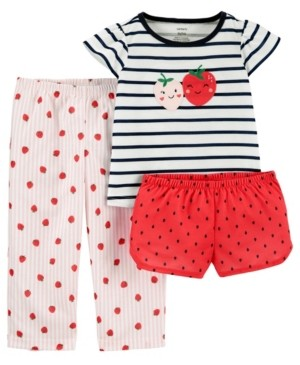 Carter's Toddler Girls 3 Piece Strawberry Loose Fit Pajama Set