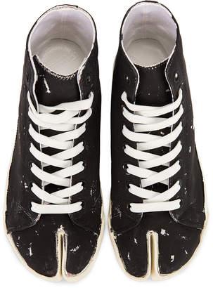 Maison Margiela High Top Tabi Sneakers in Black & Silver   FWRD