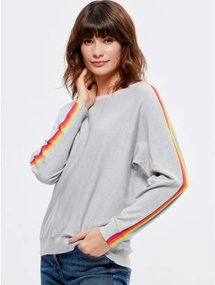 M&Co Rainbow stripe sleeve jumper