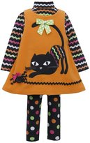 Bonnie Jean Little Girls' CAT Applique Fleece Jumper Leggings 3-pc set
