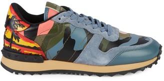 Valentino Camo Print Leather Sneakers