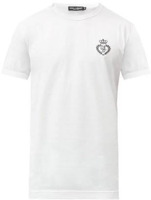 Dolce & Gabbana Logo-embroidered Cotton-jersey T-shirt - White