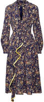 ADAM by Adam Lippes Metallic Floral-print Silk-georgette Midi Dress - Navy