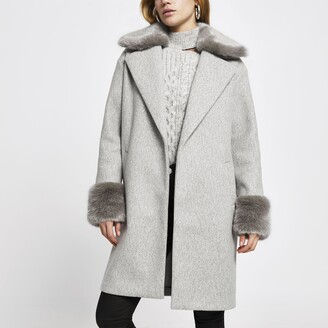 River Island Womens Grey faux fur collar coat