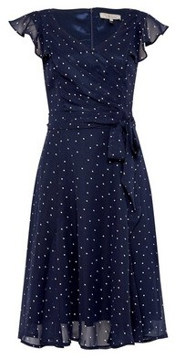 Dorothy Perkins Womens **Billie & Blossom Navy Spot Fit And Flare Dress
