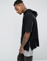 Asos Oversized Short Sleeve Hoodie With Side Zips