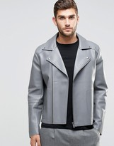 Asos Leather Look Biker Jacket With Raw Edge Detail In Gray