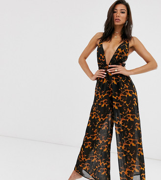 Candypants Exclusive wide leg beach jumpsuit in animal