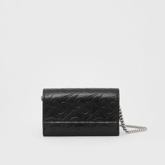 Burberry Small Monogram Leather Wallet with Detachable Strap