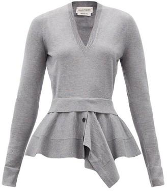 Alexander McQueen Peplum-panel Wool-blend Sweater - Grey