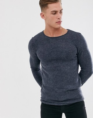 Selected knitted crew neck jumper-Blue