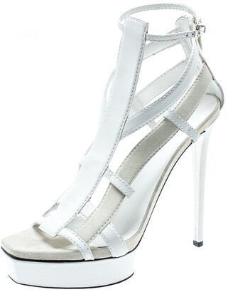 Gucci White Suede And Leather Daryl Platform Sandals Size 39