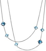 David Yurman Ch'telaine Long Station Necklace with Hampton Blue Topaz, Blue Topaz and Diamonds