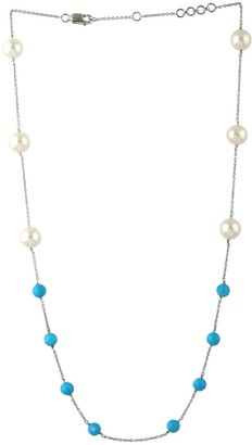 Artisan 18Kt Solid White Gold Fresh Water Pearl & Turquoise Bead Necklace