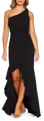 Quiz One-Shoulder Waterfall Maxi Gown