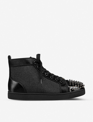 Christian Louboutin Lou Spikes Orlato Flat Pat/Vv/Suede Mill