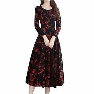 Moent Women Clothes Moent Lady O-Neck Long Sleeve Printing Long Dress Women Floral Vintage Elegant Dress Knee Length (XXL
