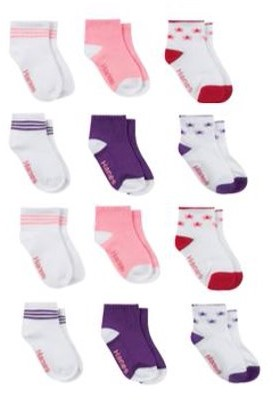 Hanes Baby and Toddler Girls Ankle Socks, 12-Pack