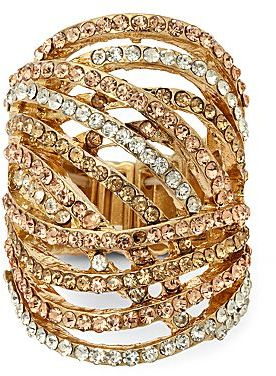 JCPenney Gold-Tone Blush Woven Stretch Ring