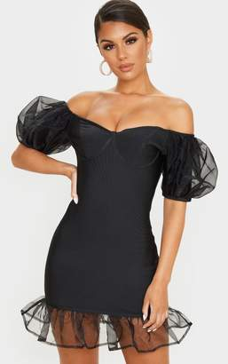 PrettyLittleThing Black Bandage Chiffon Frill Puff Sleeve Bodycon Dress