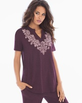 Soma Intimates Pop Over Pajama Top Luscious Lace Placement Marsala
