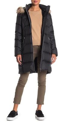 Calvin Klein Faux Fur Trim Hood Quilted Puffer Coat
