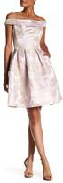 Carmen Marc Valvo Floral Brocade Party Dress