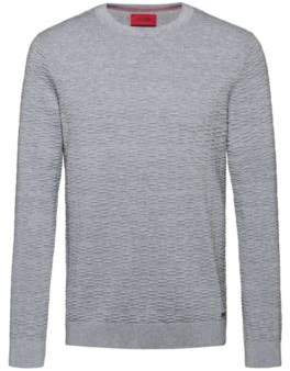 HUGO Lightweight cotton sweater with ottoman structure