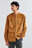 Urban Outfitters Microsuede Band Collar Button-Down Shirt