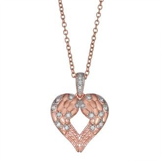 Unbranded Rose Gold Over Sterling Silver 1/10 Carat T.W. Diamond Angel Wing Pendant Necklace