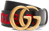 Gucci Embroidered Leather Belt - Black