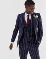 Burton Menswear wedding skinny suit jacket in burgundy and navy stripe