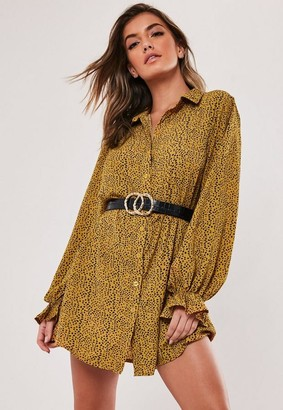 Missguided Mustard Dalmatian Print Frill Cuff Shirt Dress