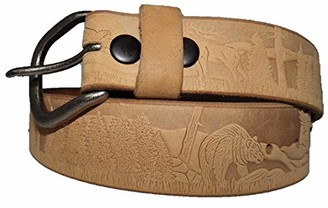 Country Leather Men's Leather Belt Embossed Wildlife Accessory