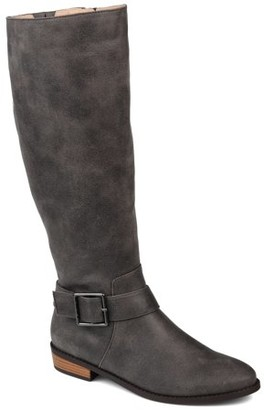 Brinley Co. Womens Extra Wide Calf Knee-high Buckle Riding Boot