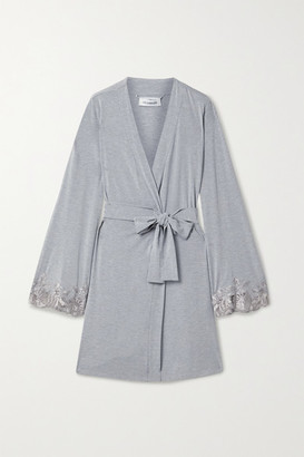 I.D. Sarrieri Lace-trimmed Modal-blend Robe - Light gray