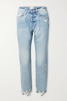 Frame Le Original Distressed High-rise Straight-leg Jeans - Light blue